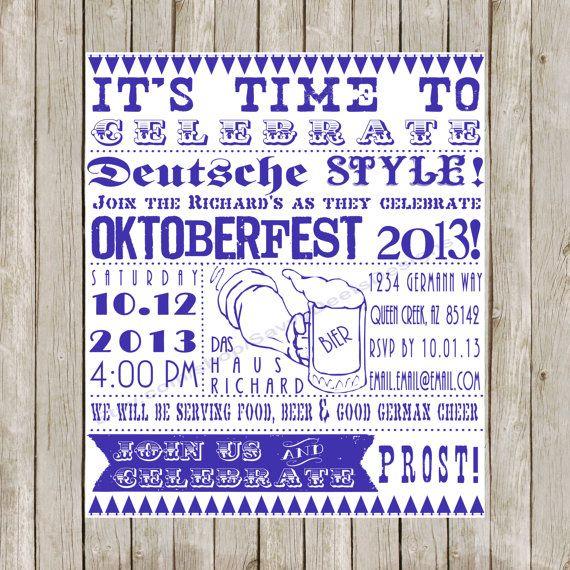 Custom Western Retro Oktoberfest Invitation Printable Chalkboard