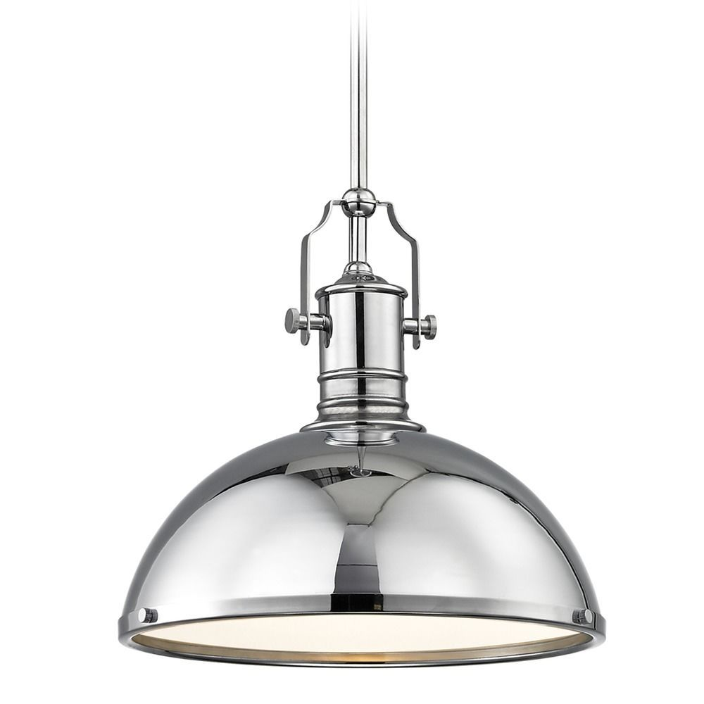 Industrial Chrome Pendant Light With Metal Shade 13 38 Inch Wide At Destination Lighting Chrome Pendant Lighting Glass Pendant Light Pendant Light