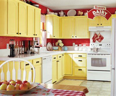 Red And White Country Kitchen Le Paint On The Walls Distressed Yellow Cabinetry Add