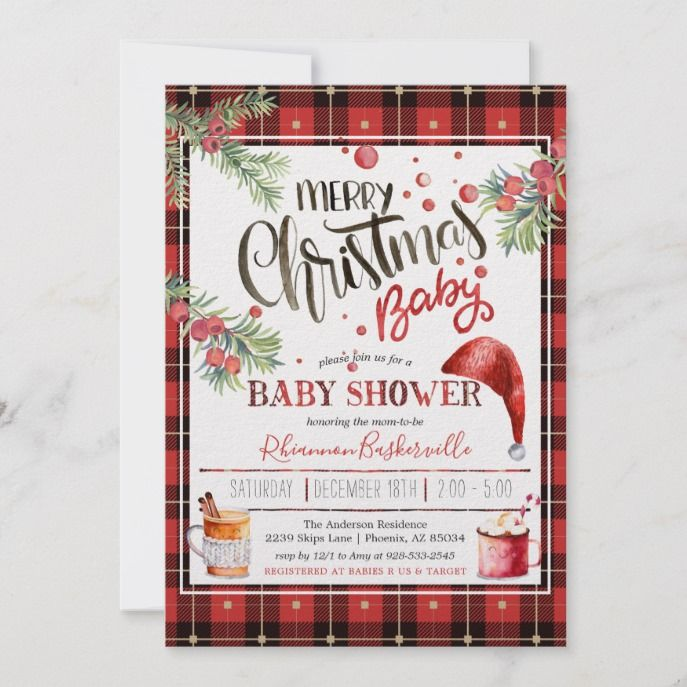 Rustic Plaid Christmas Baby Shower Holiday Card in 2018 Custom