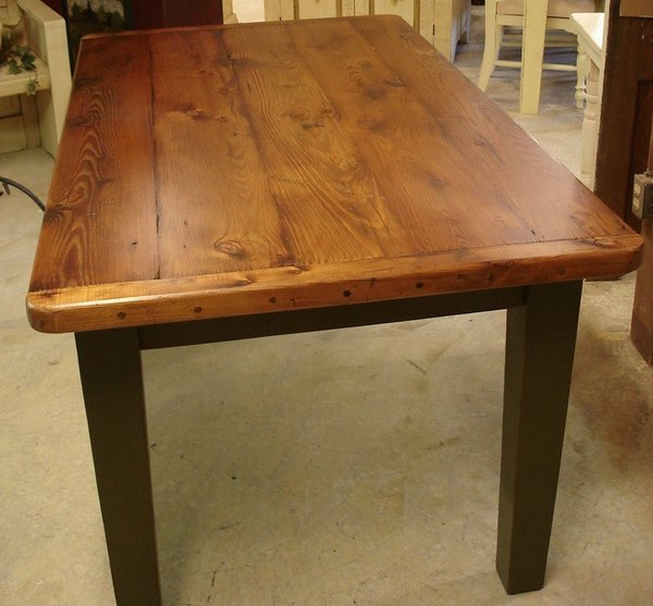 Amish Reclaimed Old Wood Plank Farm Table With Breadboard Ends In 2020 Farmhouse Dining Table Old Wood Table Wood Dining Room