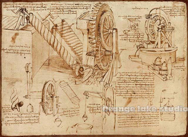 Da Vinci manuscript Vintage Mechanical Painting Pure cotton Canvas ...