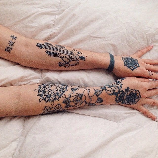 Pretty Tattoo Sleeve: Tattoo Arm Sleeve Floral Pretty Boho Womens