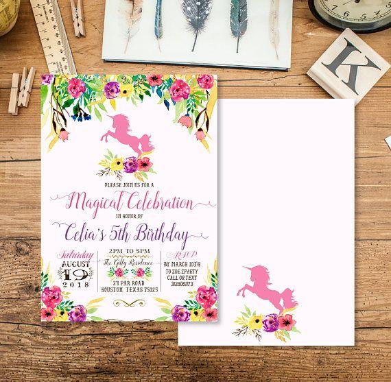 Girl unicorn birthday invitation baby girl birthday invite pink girl unicorn birthday invitation baby girl birthday invite stopboris Gallery