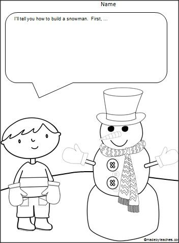 FREE Snowman Comic Writing Page for Kindergarten through
