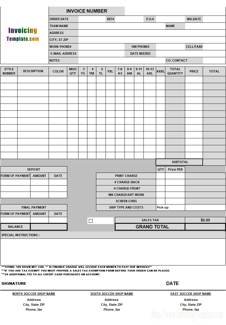 Invoicing Form For Soccer Shop  Excel    Soccer Shop