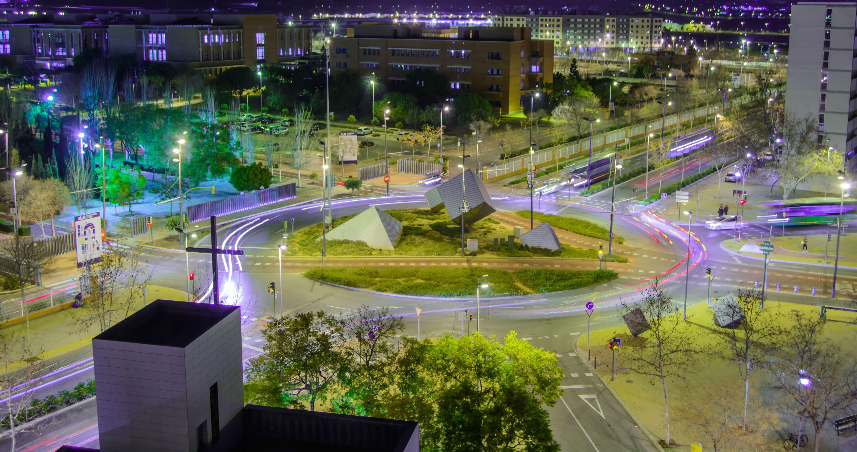 Castellon De La Plana Street View Light Trails Fotografia