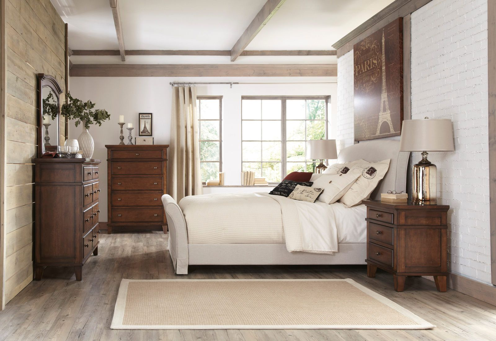 Burkesville Upholstered w/ Slipcover Sleigh Bedroom Set