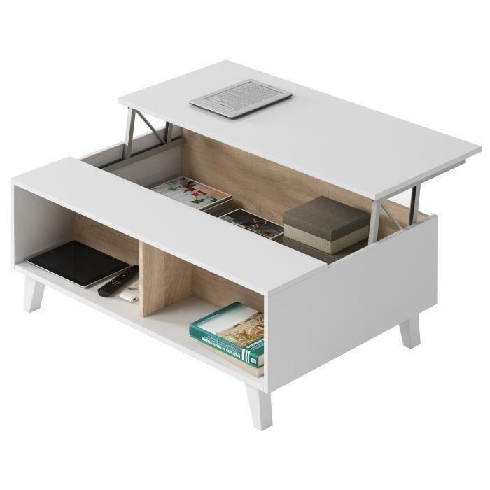 ZAIKEN PLUS Table basse scandinave blanc brillant et décor chêne - L