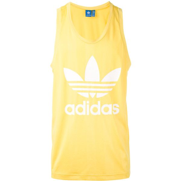 Adidas Originals Trefoil Tank Top ($30) ❤ liked on Polyvore featuring men's fashion, men's clothing, men's shirts, men's tank tops and mens yellow shirt