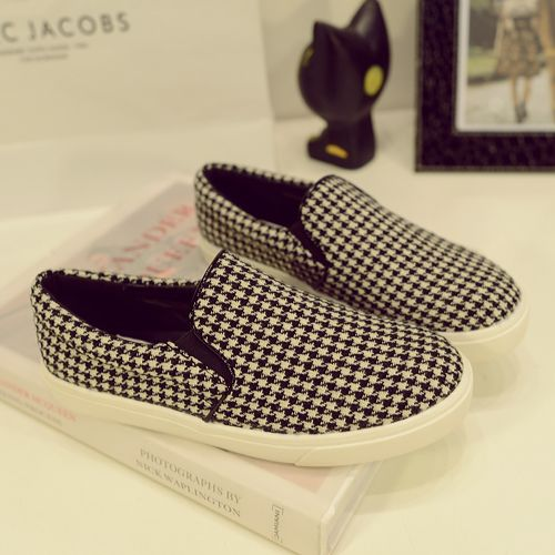 Women's 2014 spring new fashion plaid round soled casual shoes