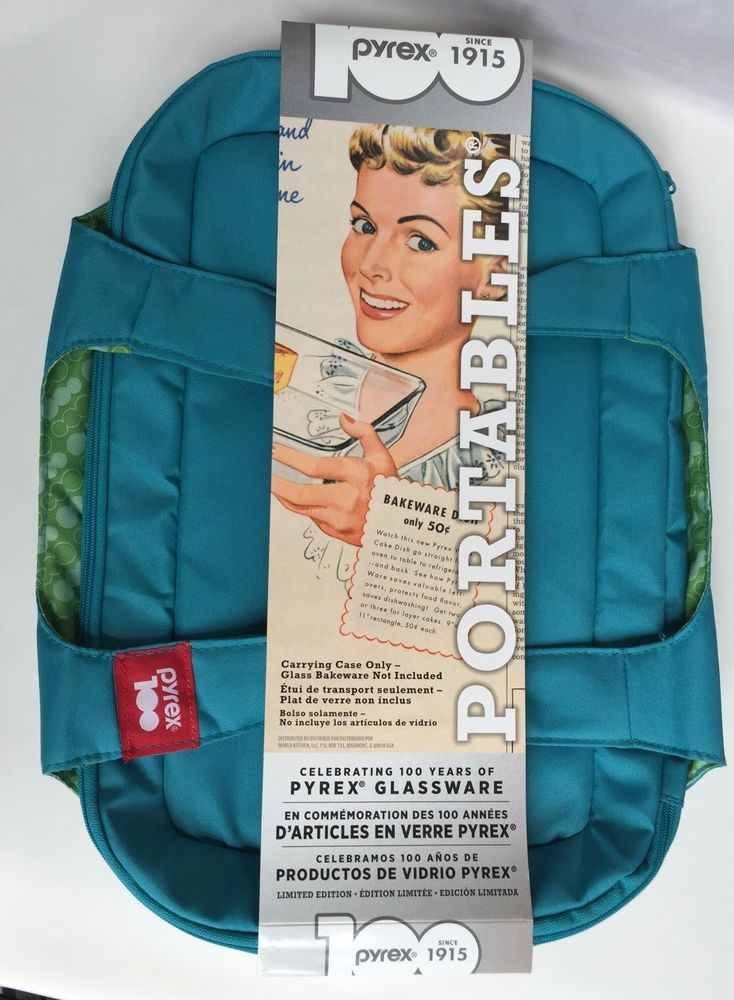 Pyrex 100th Anniversary Portables Carrier Aqua Green Limited Edition New Blue #Pyrex | Green bag. Green glassware