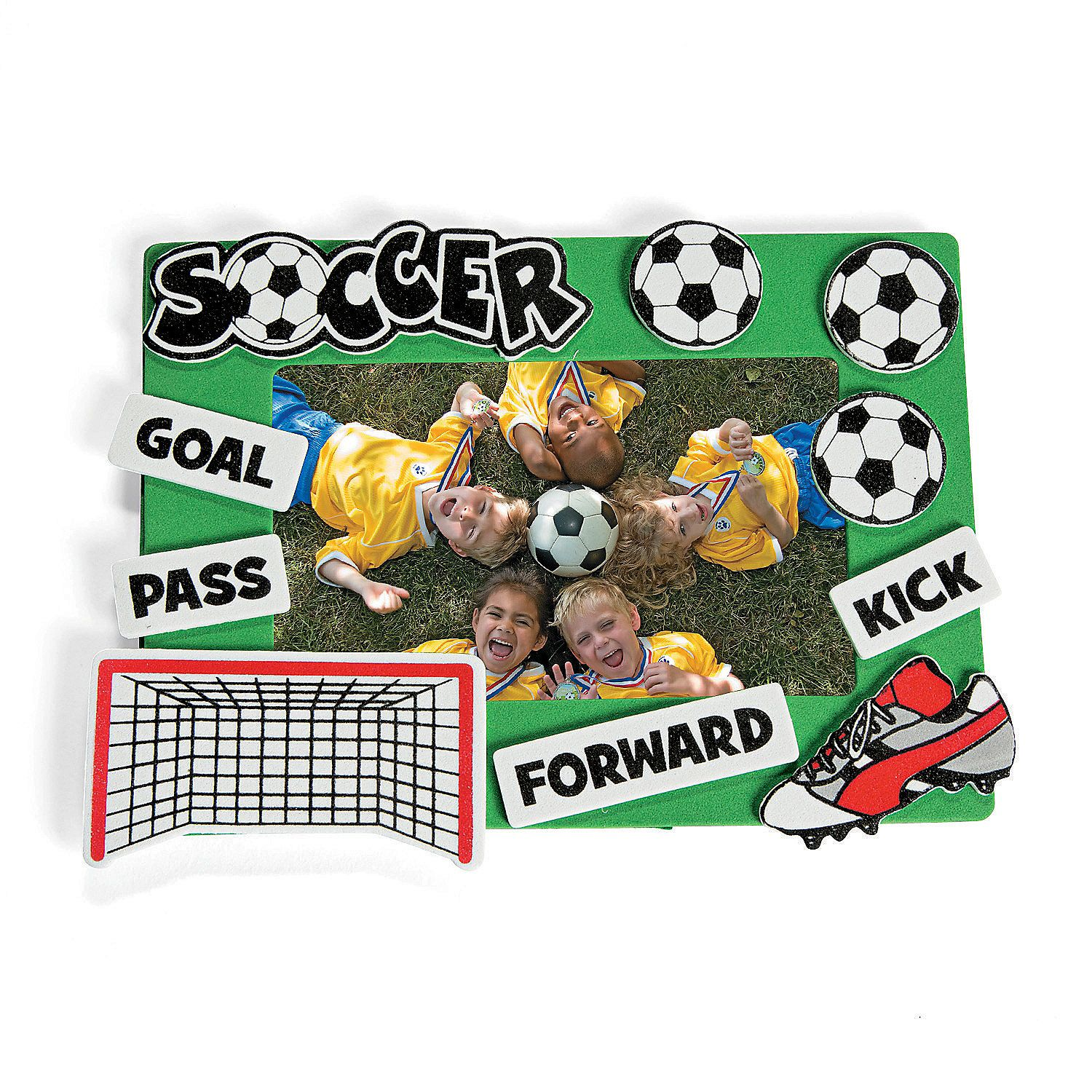 Soccer picture frame craft kit orientaltrading soccer soccer picture frame craft kit orientaltrading jeuxipadfo Images