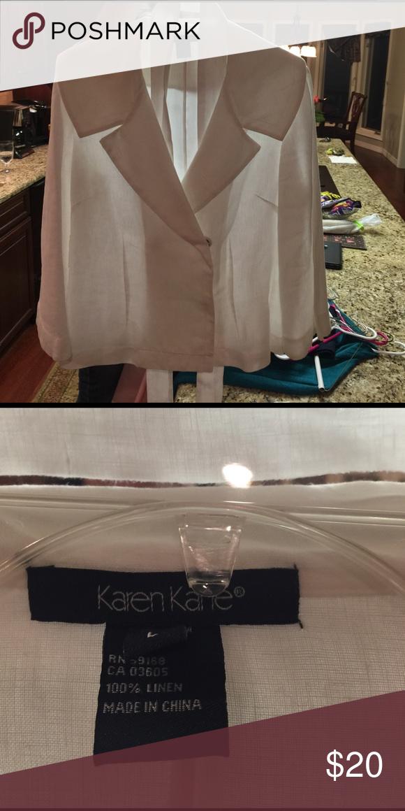 Karen Kane white double breasted linen jacket, L. Belted, white linen size L, cruise wear Karen Kane jacket. Karen Kane Jackets & Coats Utility Jackets