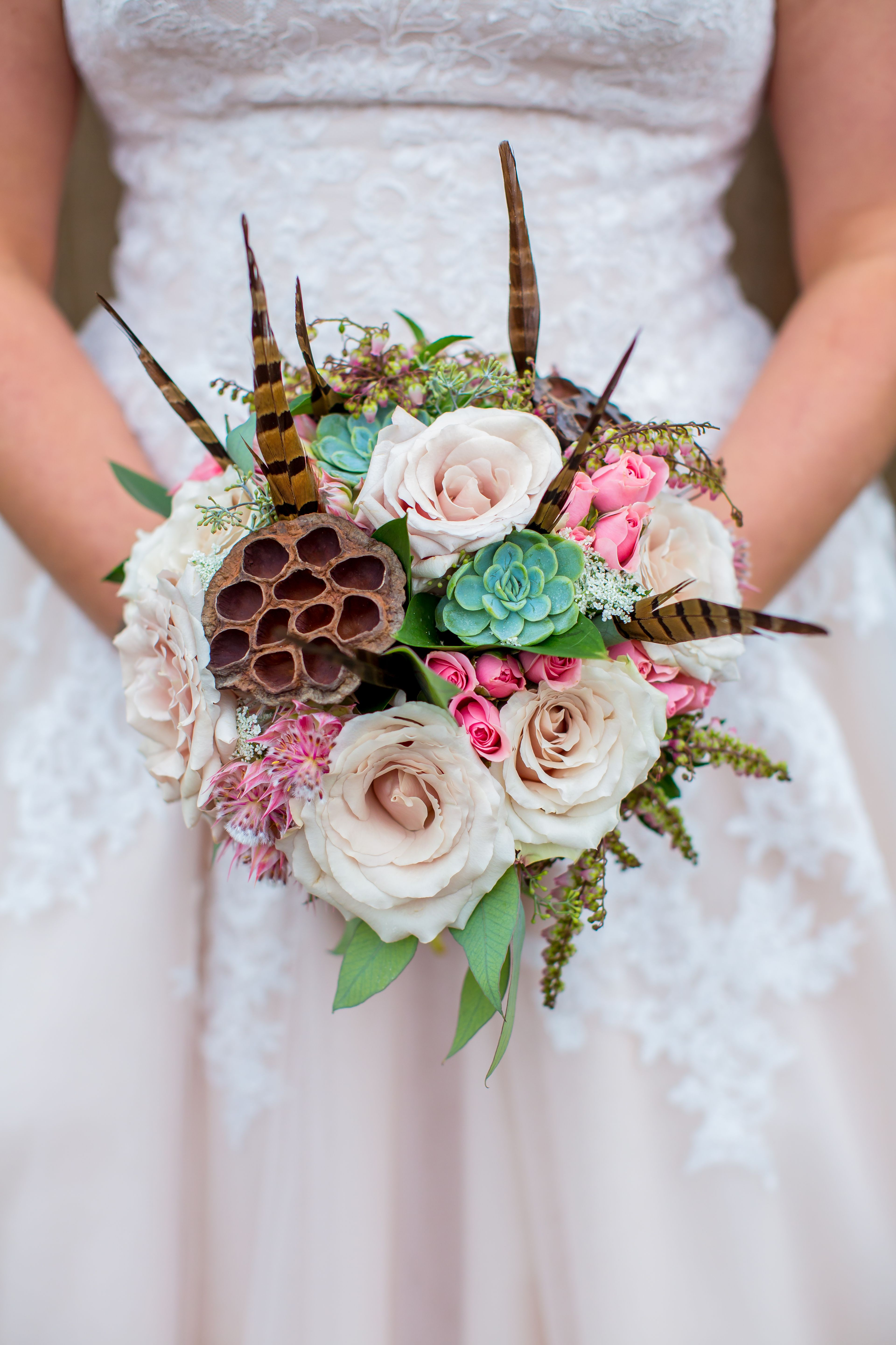 Summer bridal bouquet of pheasant feathers succulents dried summer bridal bouquet of pheasant feathers succulents dried lotus pods quicksand roses dhlflorist Images