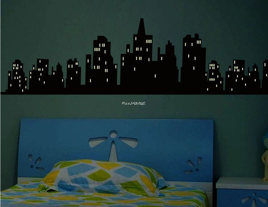 glow in the dark city wall decal art sticker designedfunmarket