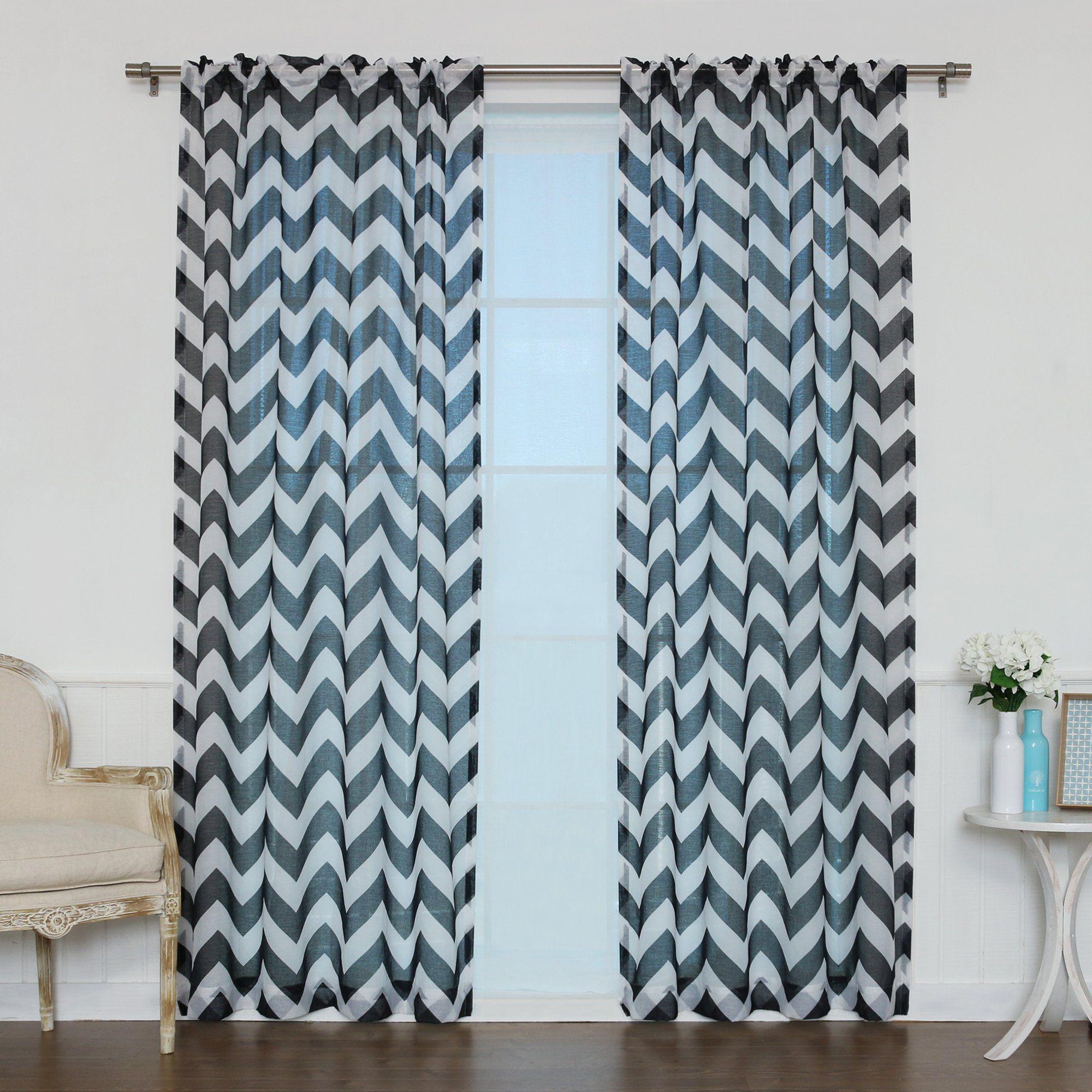 Amazon.com - Best Home Fashion Faux Sheer Gauzy Linen Chevron Print ...