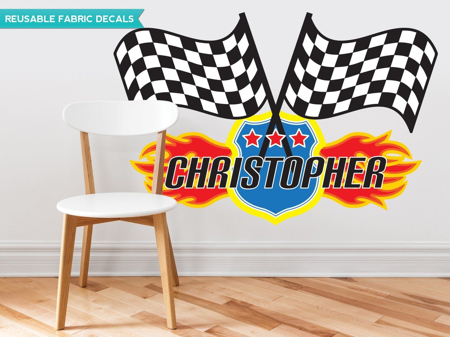 Sunny decals race flags with custom name fabric wall decal jumbo want to know more click on the image this is an affiliate link modernhomedecor