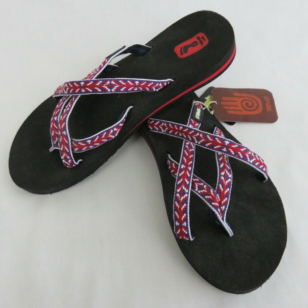 bd51eac47c8c6 Teva Mush Olowahu Flip Flops Sandals Women s 7 Thongs Tyena Purple Red  White  Teva