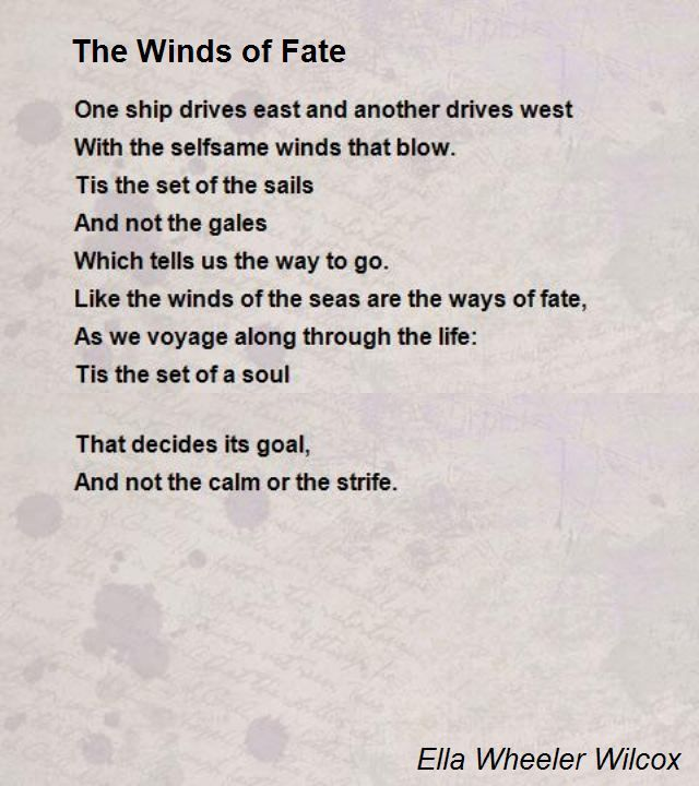 The Winds Of Fate Poem By Ella Wheeler Wilcox Poem Hunter