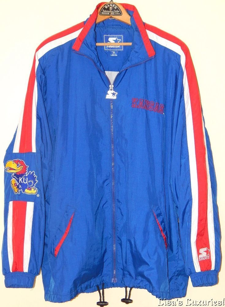 caa7a7b53 Vintage Starter Jacket Kansas Jayhawks NCAA Nylon Lined Men s M.  Starter   Windbreaker
