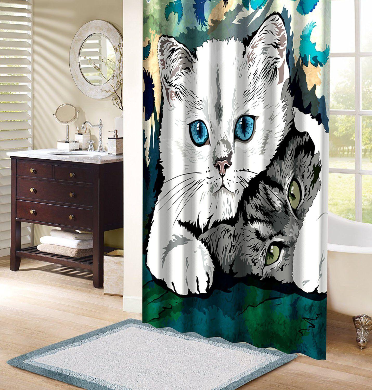 Wimaha Wildlife Safari Printed Cat Fabric Polyester Shower Curtain Sets Waterproof Anti Mild Cat Shower Curtain Fabric Shower Curtains Shower Curtain
