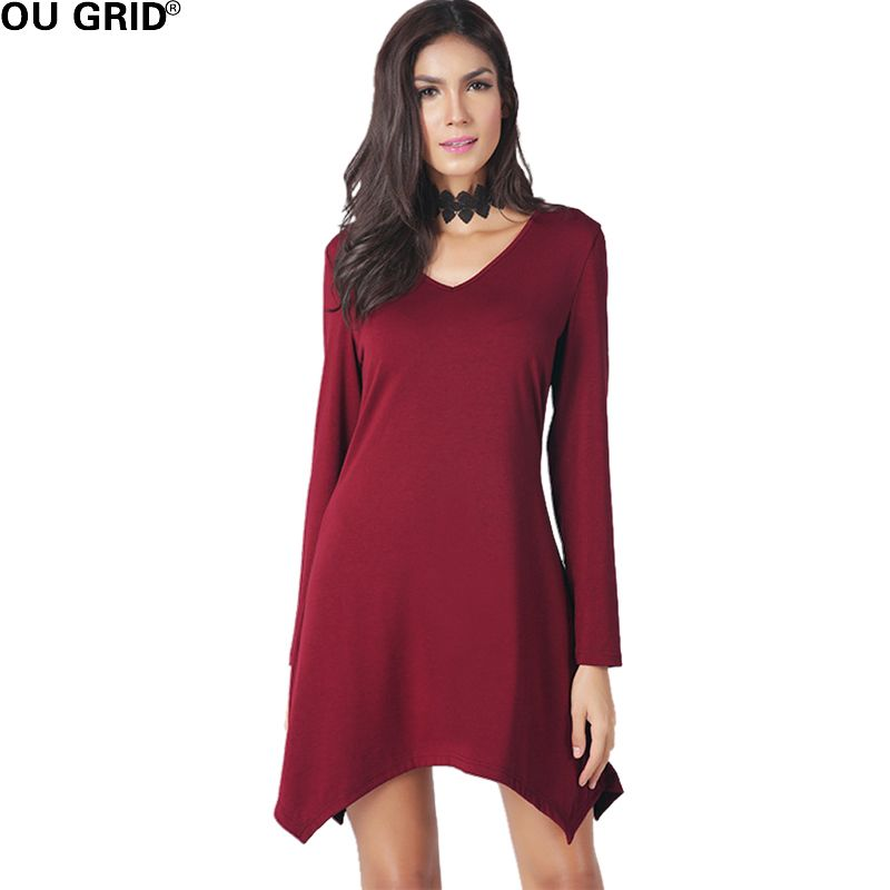 Asymmetrical Casual Dress Women Spring Summer Solid Cotton Long Sleeve  Simple V-neck Loose Dresses 5dc19e567500