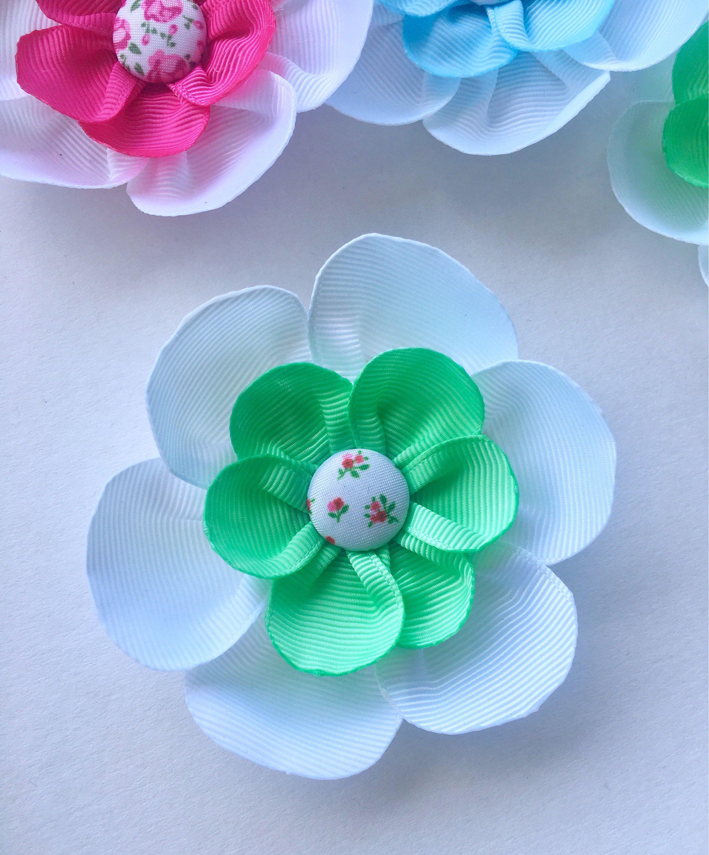 Green And White Hair Flower Clip Pinterest Flower Hair Flower