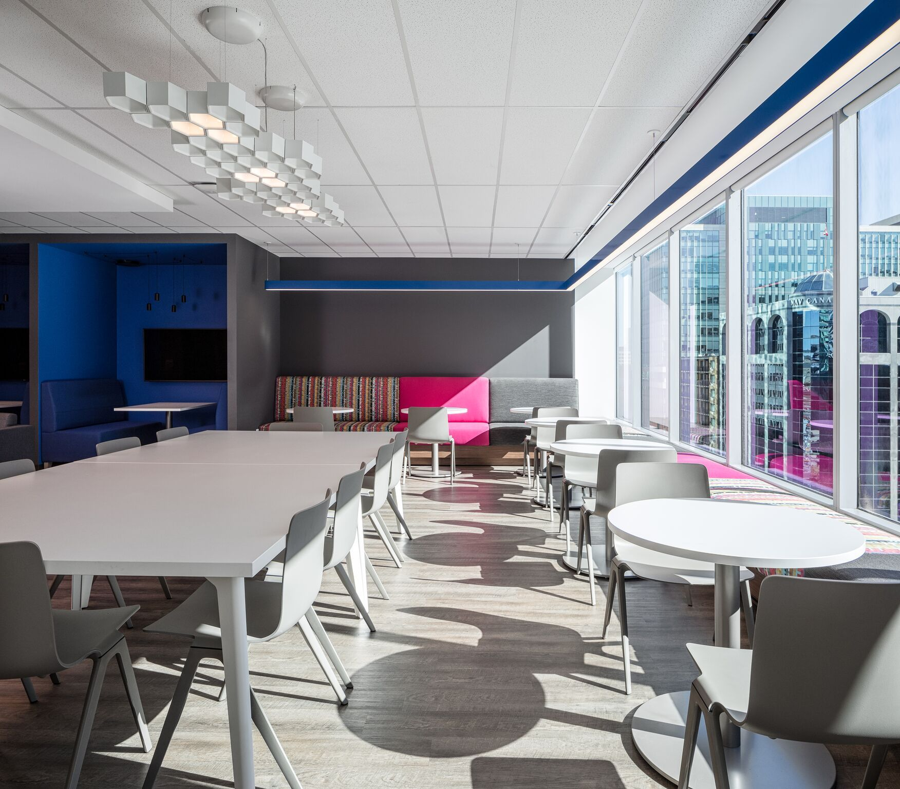 Luceplan Honeycomb Fixture Illuminates This Modern Office Space In Downtown