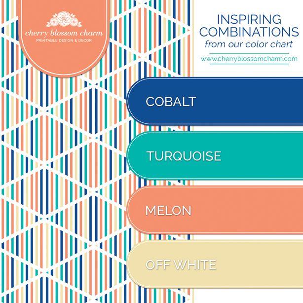 Color Combinations Cobalt Blue Turquoise Melon Orange Off White