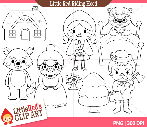 You can download Little Red Riding Hood Characters Clip Art in