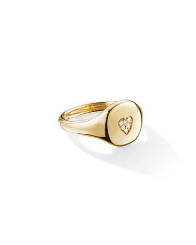 David Yurman 18k Gold Diamond Heart Pinky Ring Size 5 Pinky Rings For Women Diamond Heart Metal Jewelry