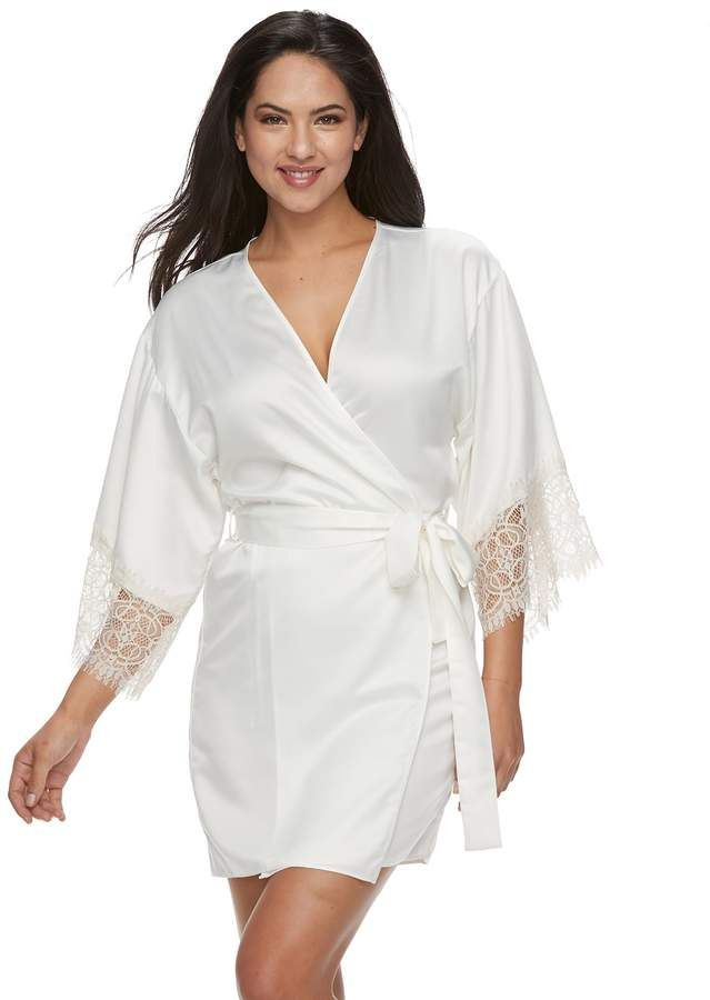 Women s Flora by Flora Nikrooz Lace-Trim Charmeuse Satin Wrap Robe ... d8b783817
