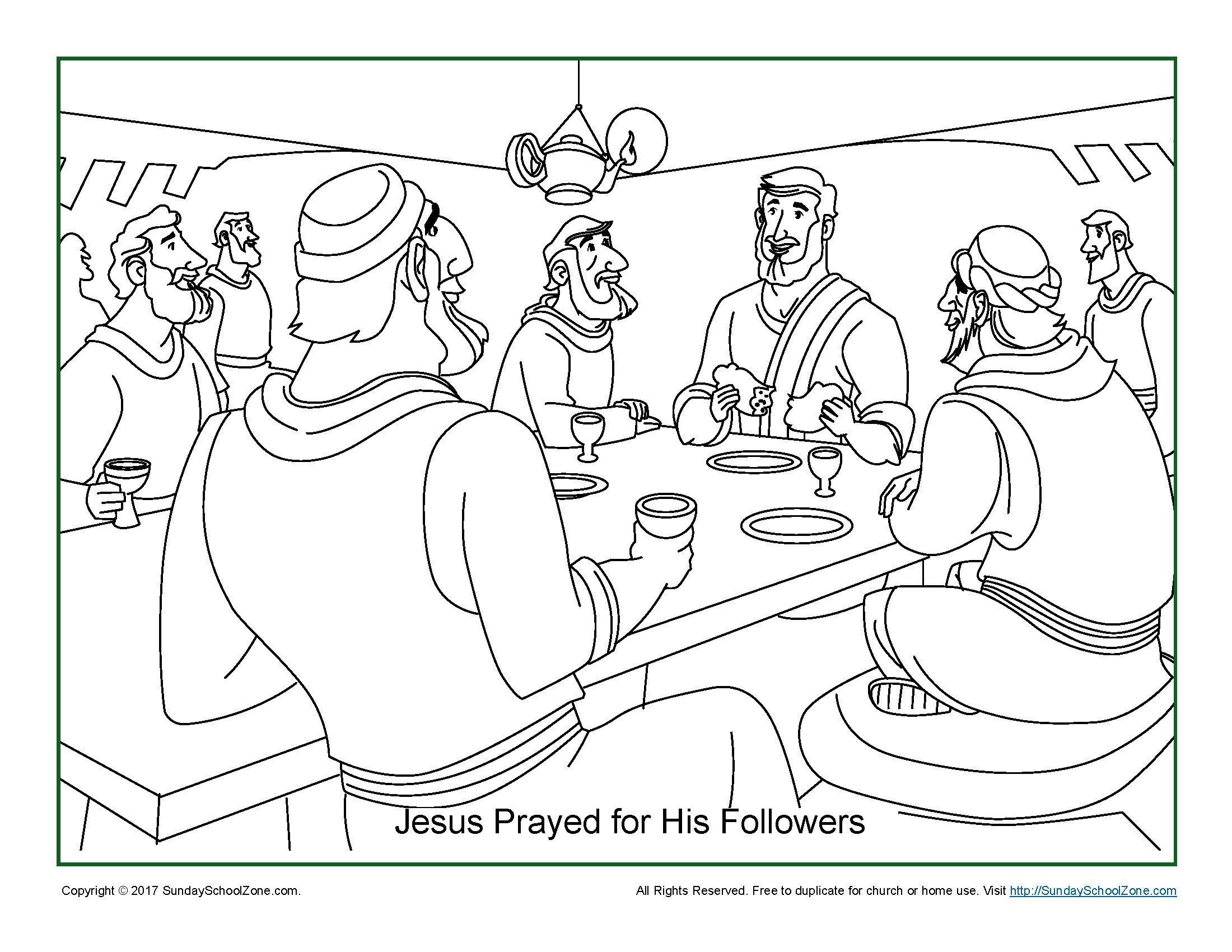 Jesus Prayed For His Disciples Coloring Page On Sunday School Zone