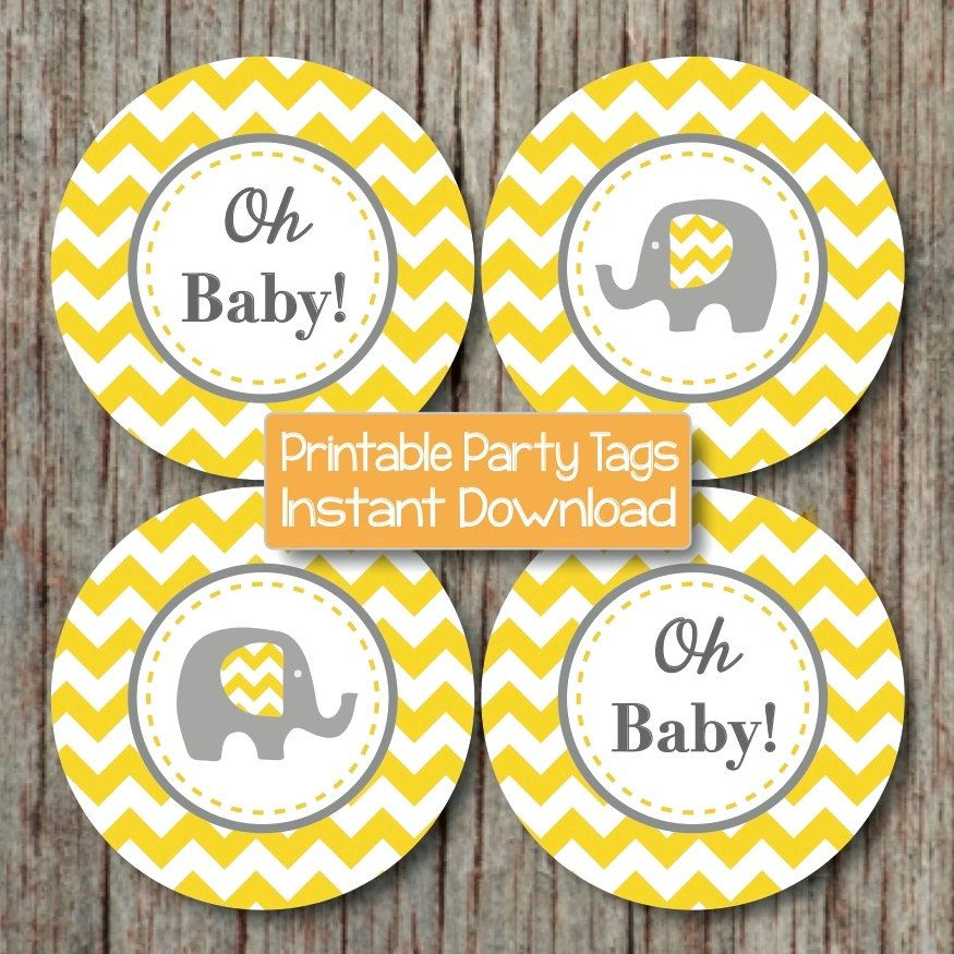 Yellow Grey Chevron Baby Shower Decorations Printable Party Supplies Cupcake Toppers Oh Baby! Elephant diy Favor Tags INSTANT DOWNLOAD 102 by BumpAndBeyondDesigns on Etsy https://www.etsy.com/listing/189014415/yellow-grey-chevron-baby-shower