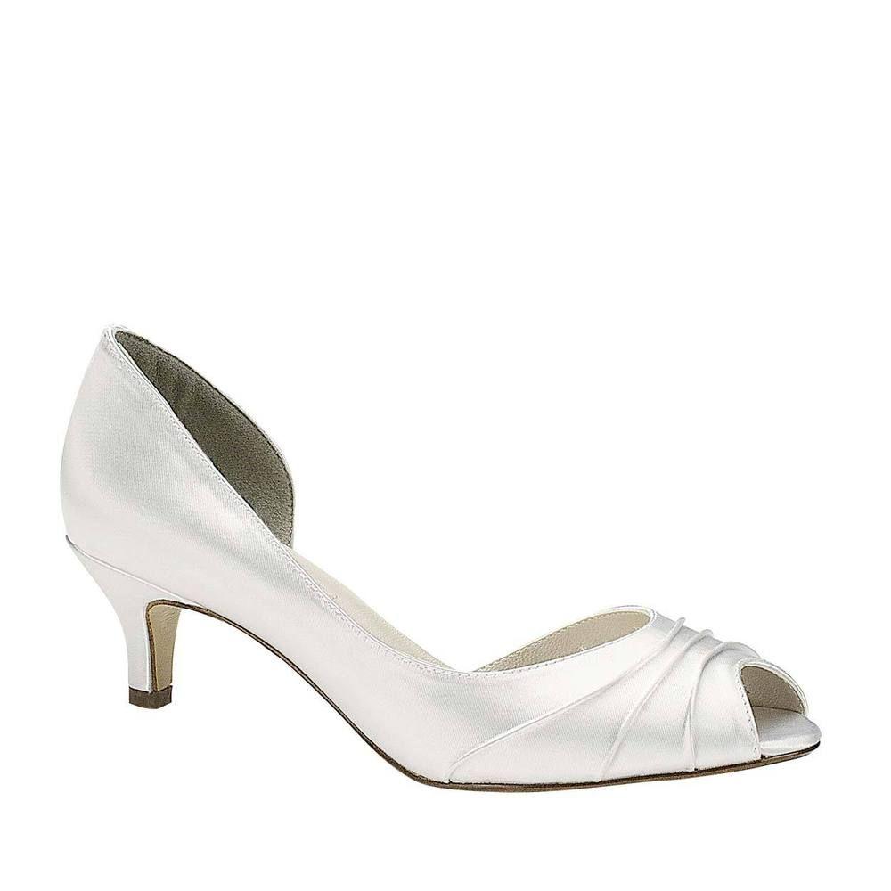 Wide Width Womens White Satin Low Heel Peep Toe Bridal Wedding Pumps Heels Shoes Bridal Shoes Low Heel Shoes Too Big Wedding Shoes