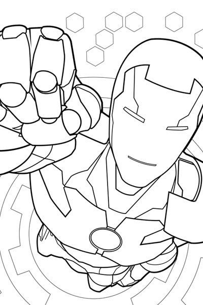 Iron Man Coloring Page (and other Marvel Kids activity