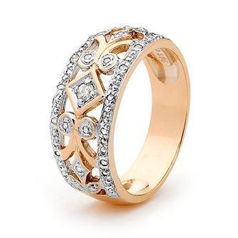 Buy our Australian made Rose gold Deco style Diamond Ring - BEE-R24666 online. Explore our range of custom made chain jewellery, rings, pendants, earrings and charms.
