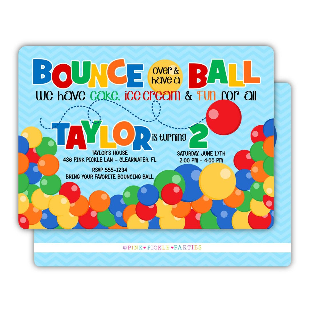 Ball Invitation, Bouncy Ball Party, Bouncy Ball Birthday Invitation ...