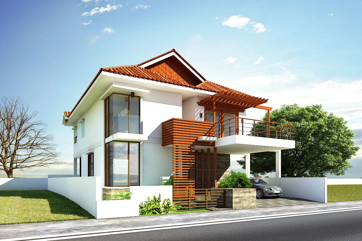Glamorous modern house exterior front designs ideas with for Exterior balcony design