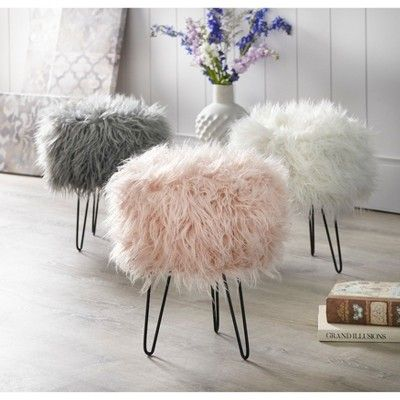 Patrice Faux Fur Stool White Buylateral In 2019 Pink