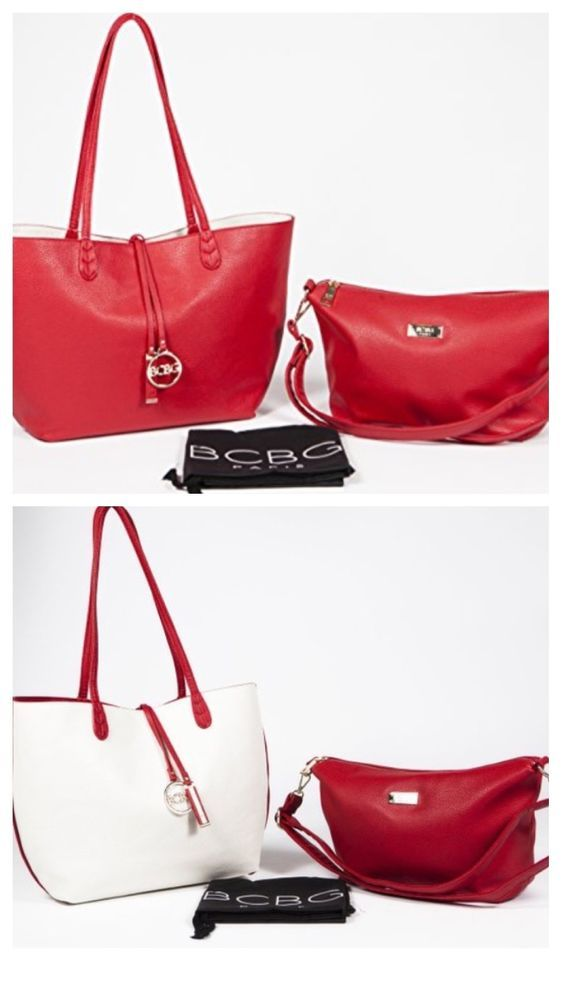 0796a933a601 New BCBG PARIS Red & Off White Reversible Large Tote And Travel Bag ...
