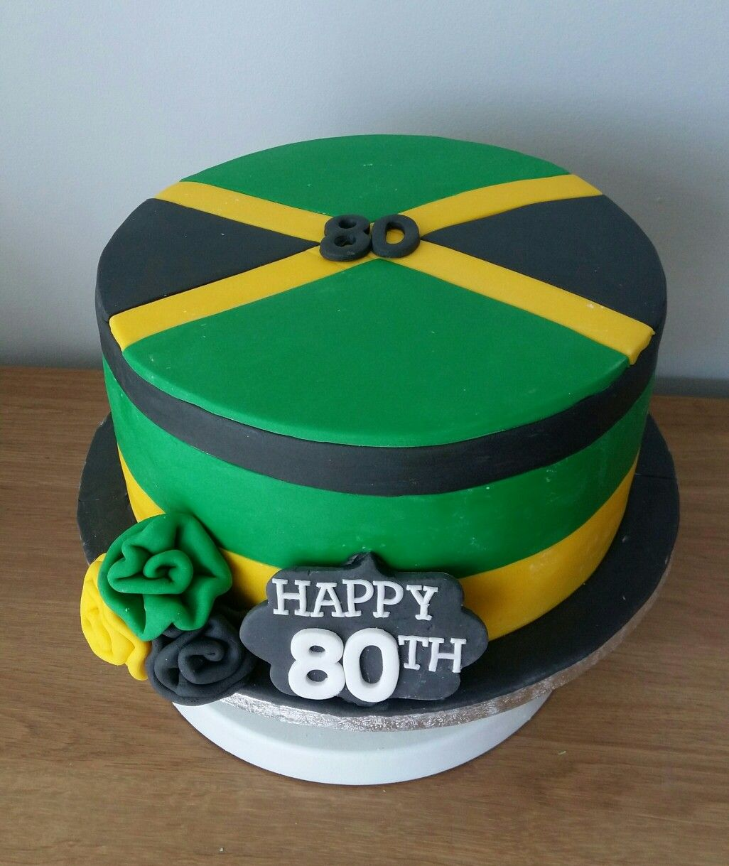 Awesome Jamaica Flag Cake Jamaica Cake Flag Cake Jamaican Party Funny Birthday Cards Online Overcheapnameinfo