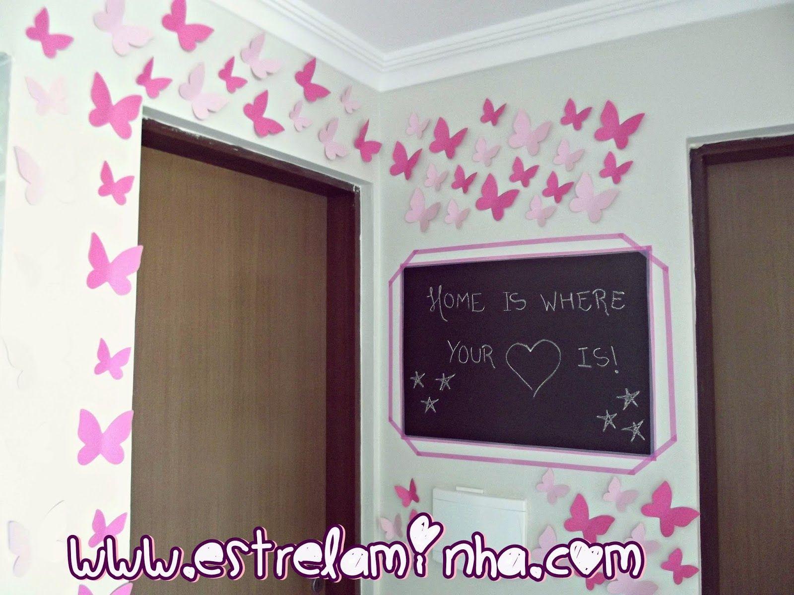 Estrela Minha: [VÍDEO] Decore gastando pouco: Como fazer quadro negro e decorar a parede com borboletas