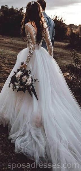 Long Sleeves See Through A-line Long Wedding Dresses Online, Cheap Bridal Dresses, WD536