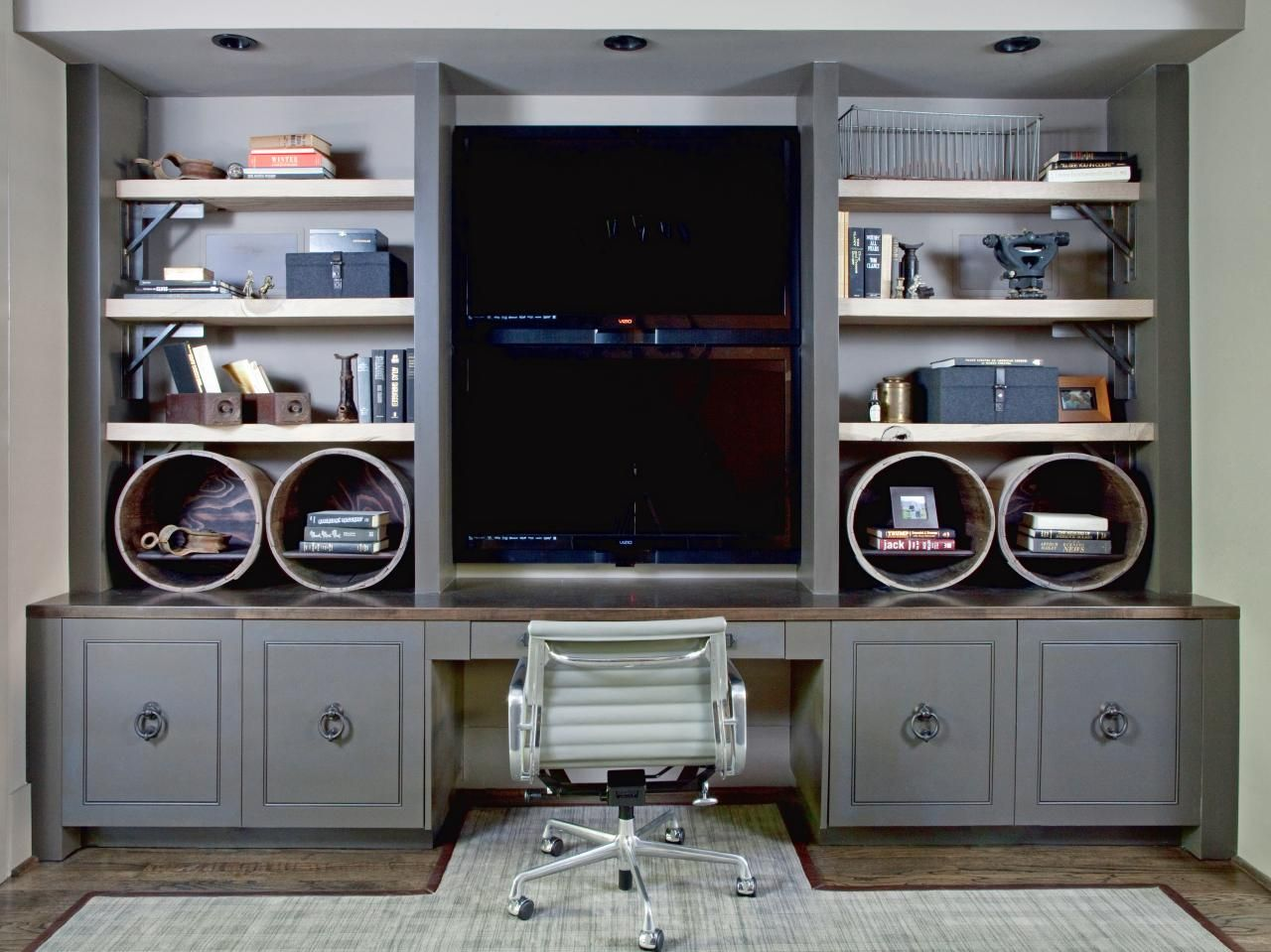 this custom built in doubles as a desk and an entertainment center rh pinterest com entertainment center with computer desk white entertainment center with desk