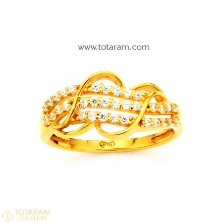 22K Gold Ring For Women with Cz 235 GR4205 Buy this Latest