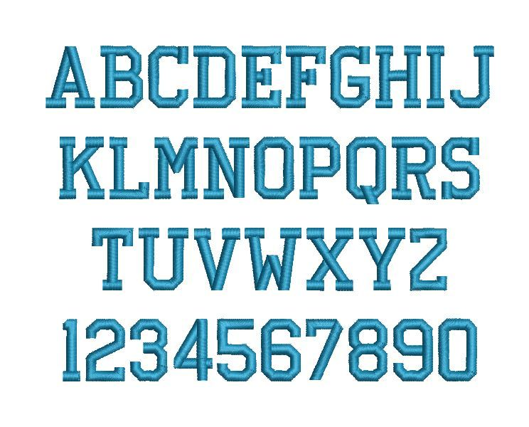 Athletic Block Embroidery Fonts Embroidery Monogram Fonts Block Letter Fonts