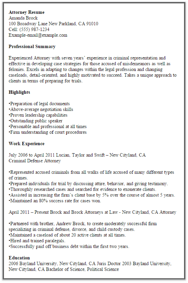 Resume Format Examples For Experienced