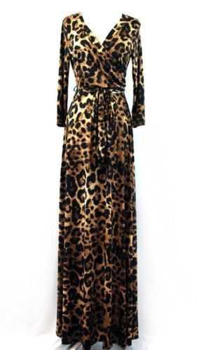 LONG SLEEVE MAXI DRESS ANIMAL PRINT WITH TIE V-NECK WRAP DRESS BOUTIQUE  FASHION df0d0c148